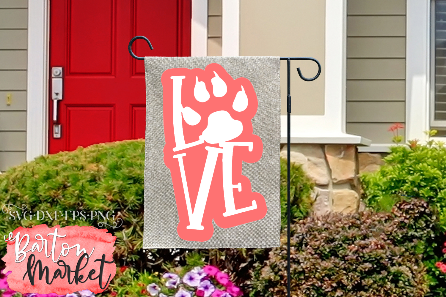 Love Pawprint SVG DXF EPS PNG example image 2