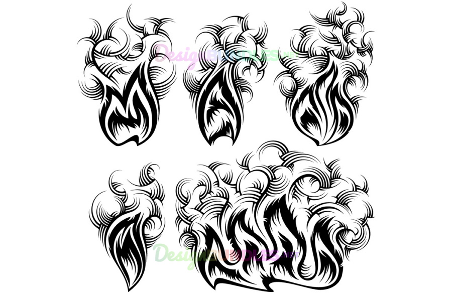 Vector Fire Smoke Spurt Flame Burning Monochrome Ink Icon Set example image 1