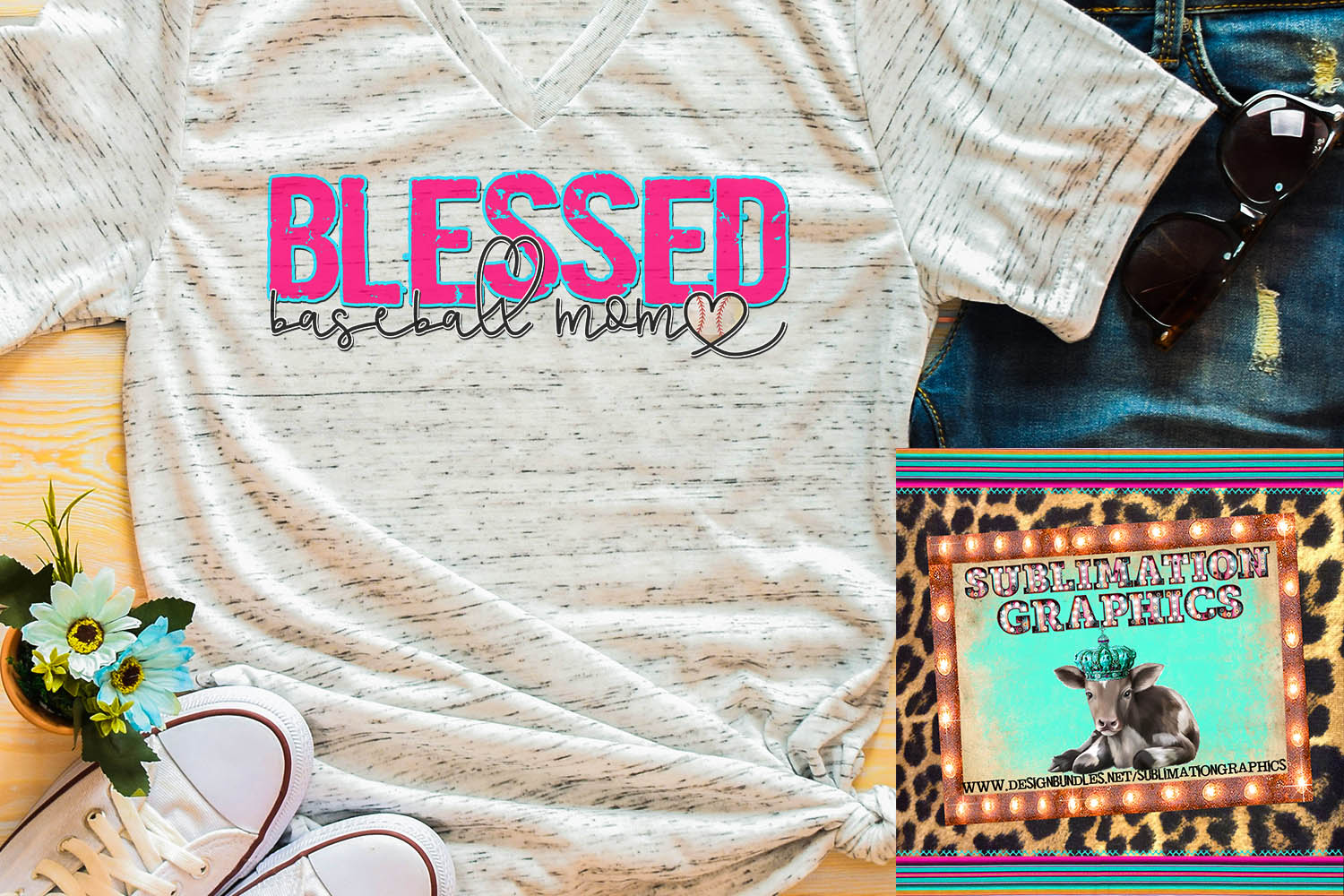 Blessed Baseball Mom Sublimation Download example image 1