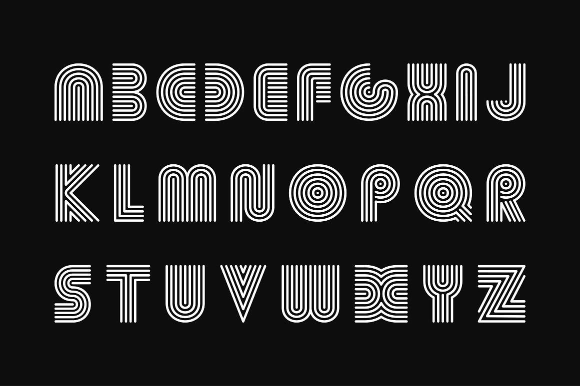 Vector striped alphabet. B&W letters example image 2