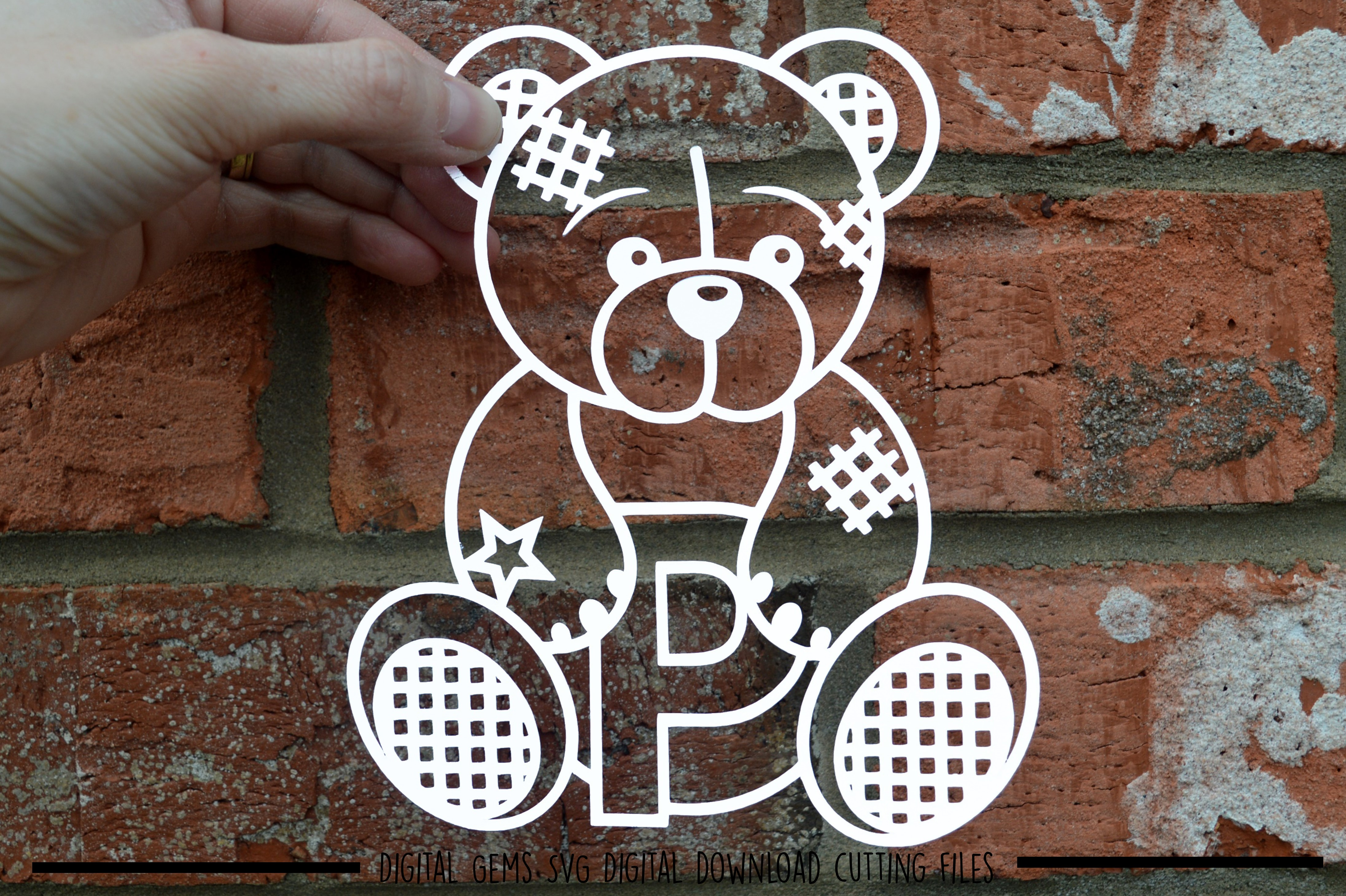 Alphabet teddy bear paper cuts SVG / DXF / EPS files example image 14
