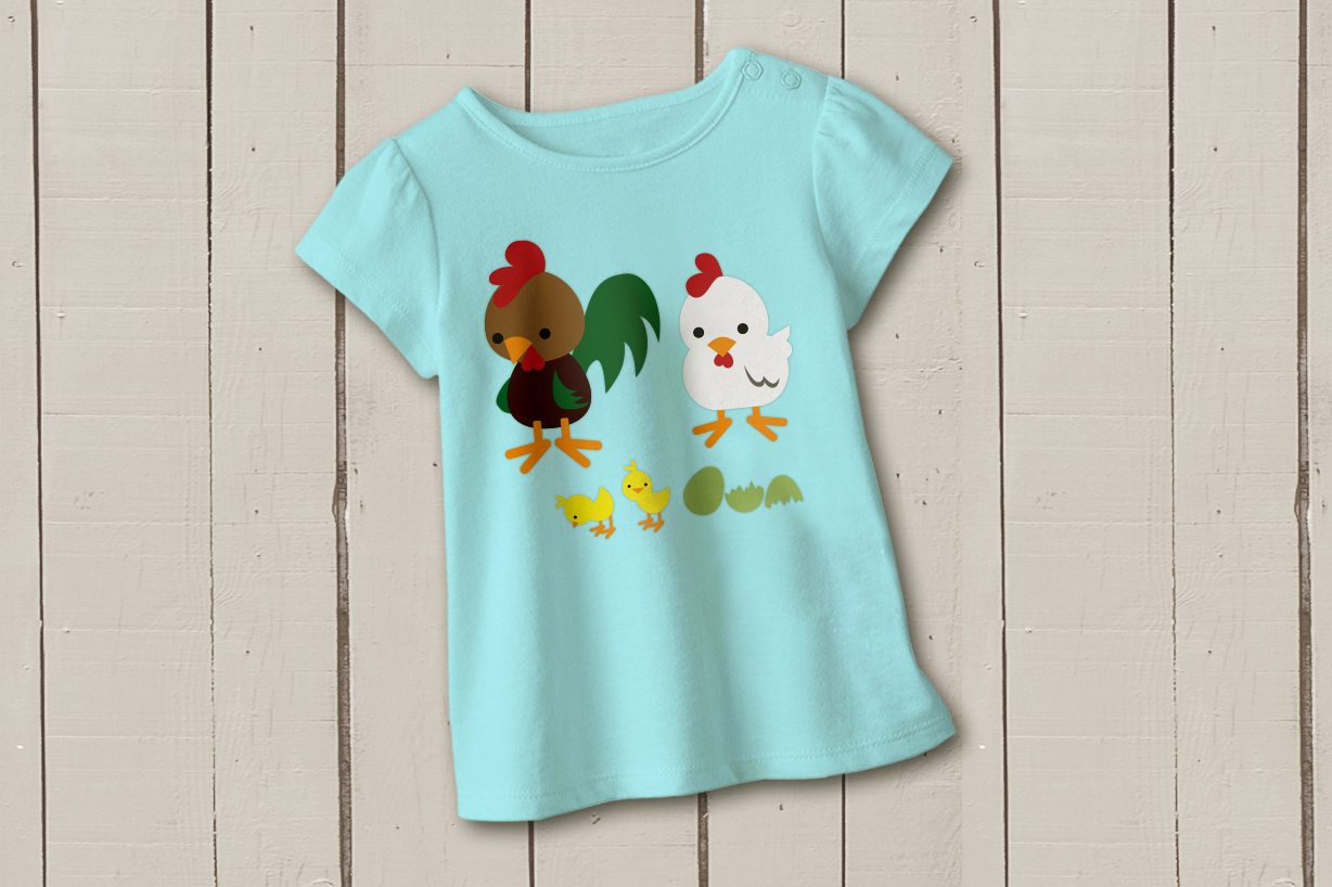 Rooster Chicken and Chick SVG Design example image 1