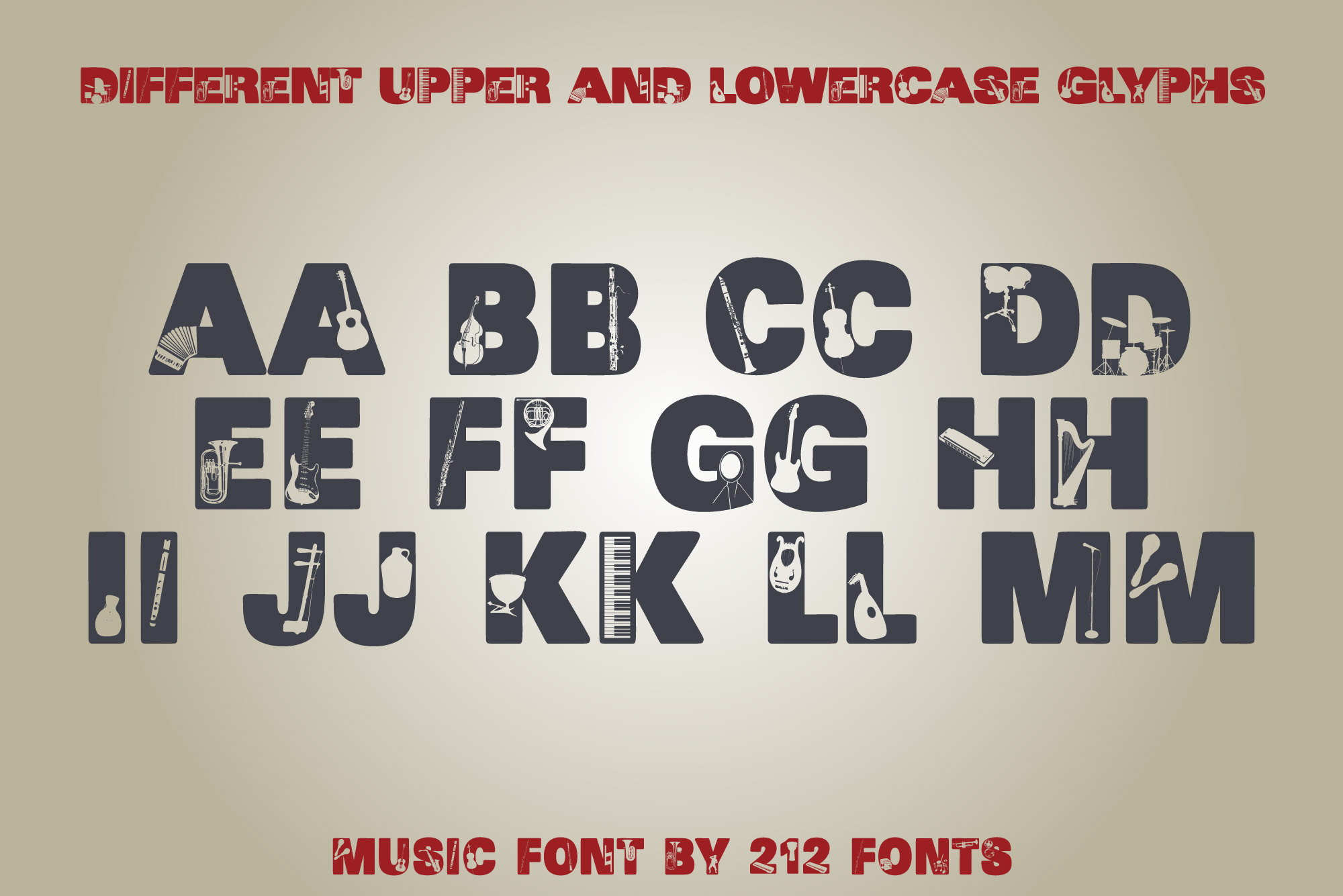 212 Music Caps Display Font Instruments Notes Alphabet OTF example image 7