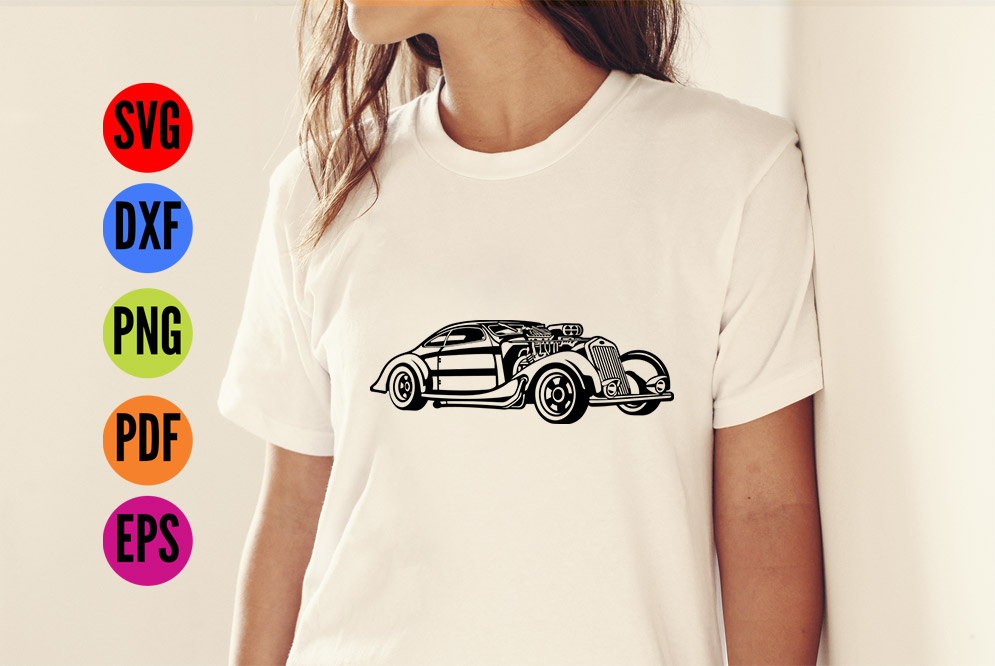 HotRod Classic Car  SVG Cutting File  example image 2