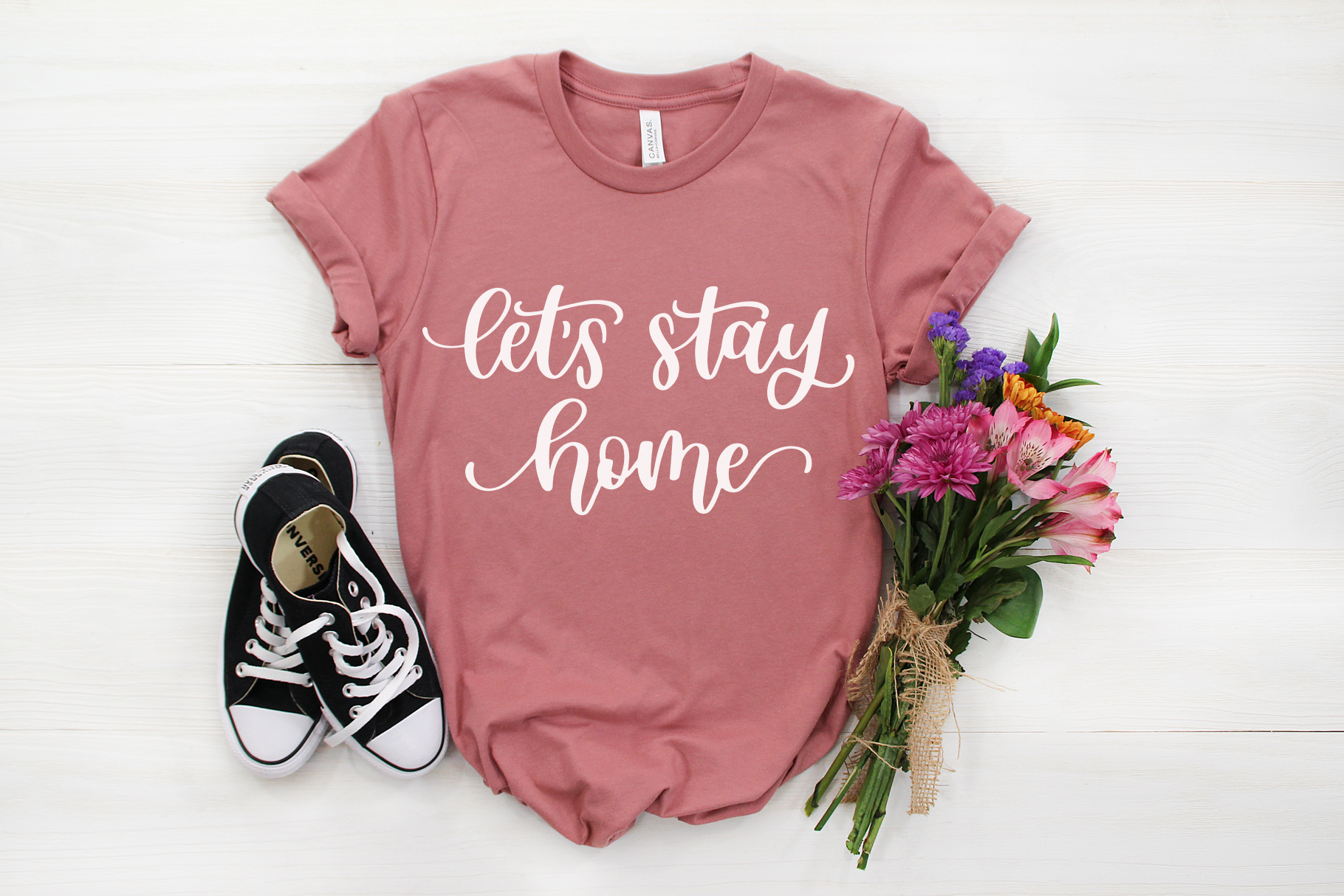 Lets Stay Home, Hand Lettered SVG Cut File example image 3