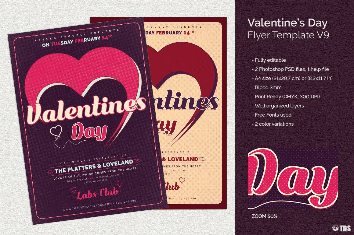 Valentines Day Flyer Template V9 example image 1