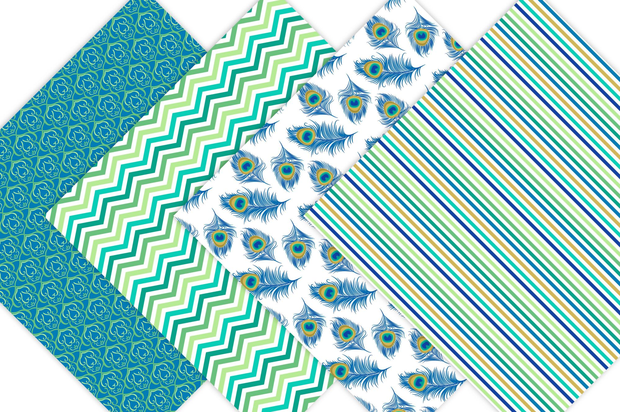 Peacock Digital Paper Patterns example image 2