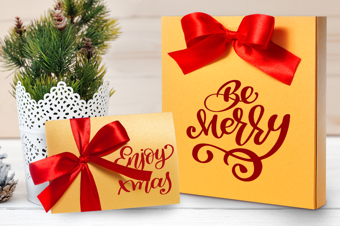 Merry Christmas Hand Draw Lettering Objects example image 5