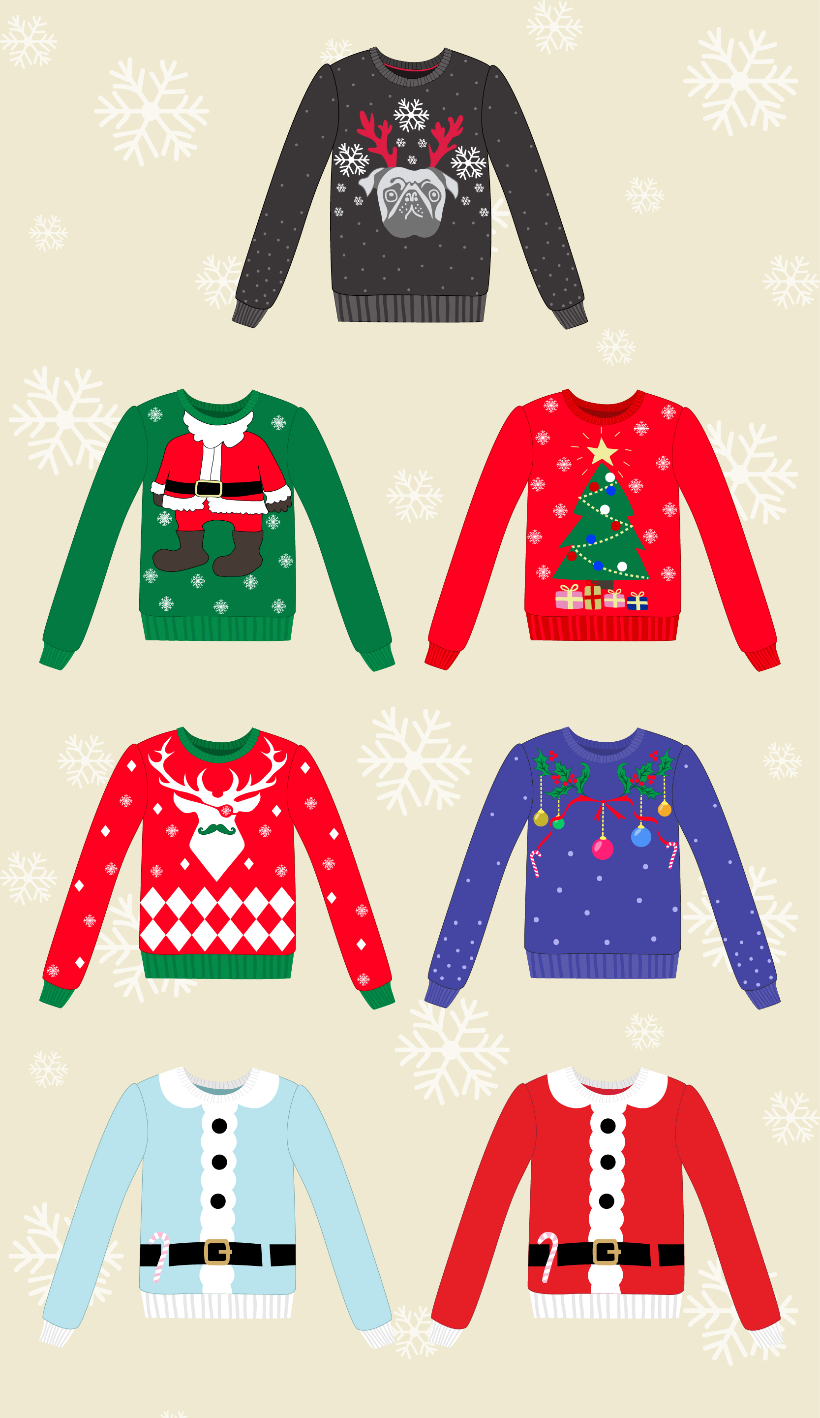 Set of 7 ugly winter sweaters example image 2