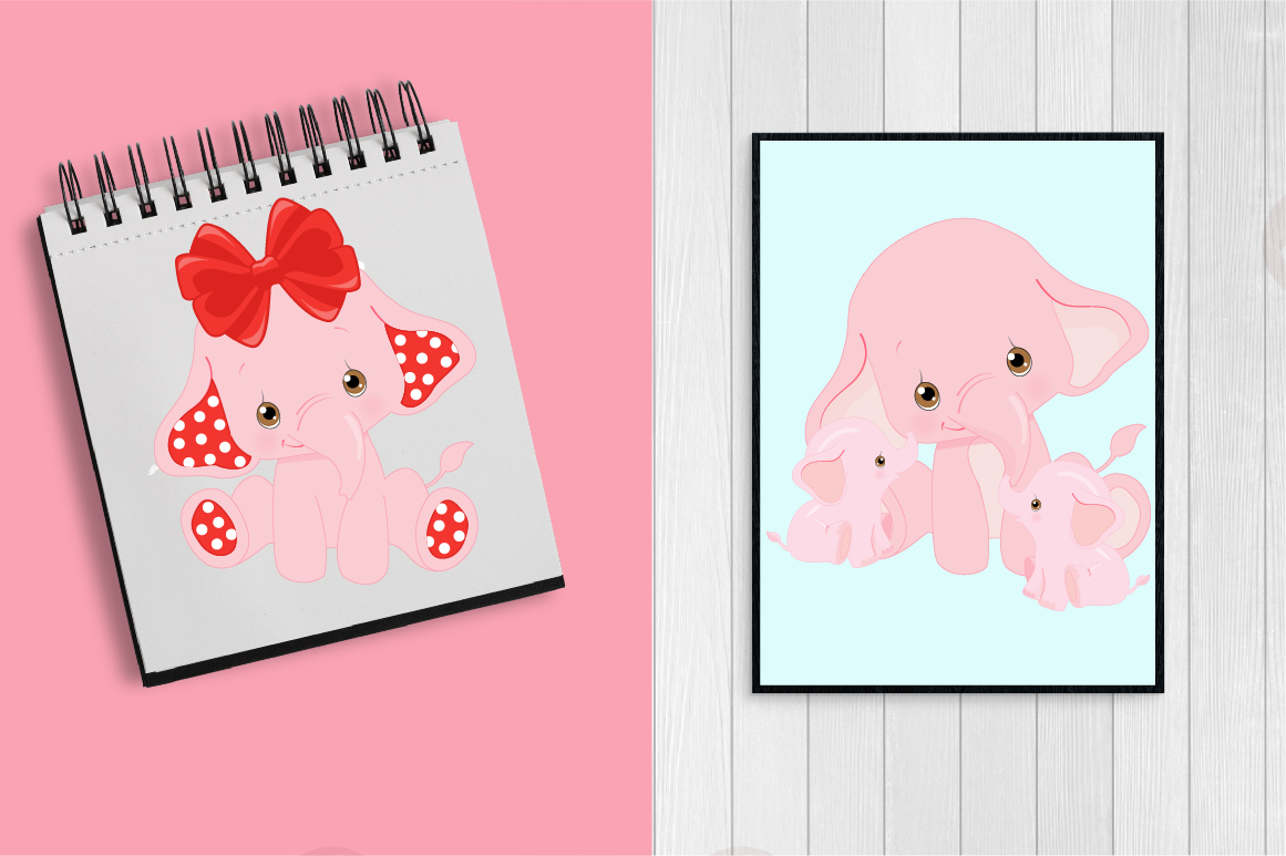 ELEPHANT babies in pink! BUNDLE! 53 cliparts, graphics and illustrations and Patterns AMB-2276 example image 2