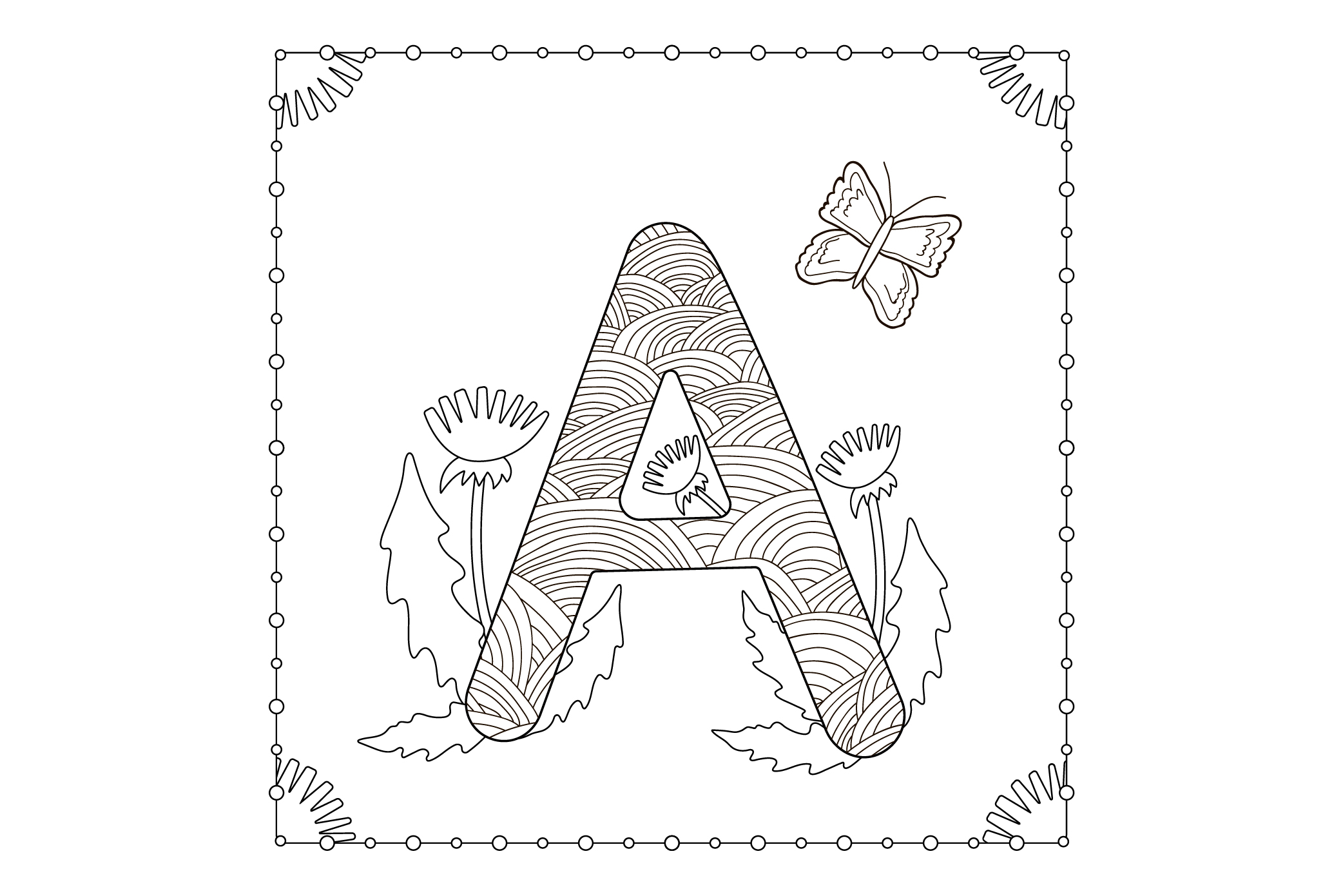 Letter A . Flowers. Coloring page. example image 1