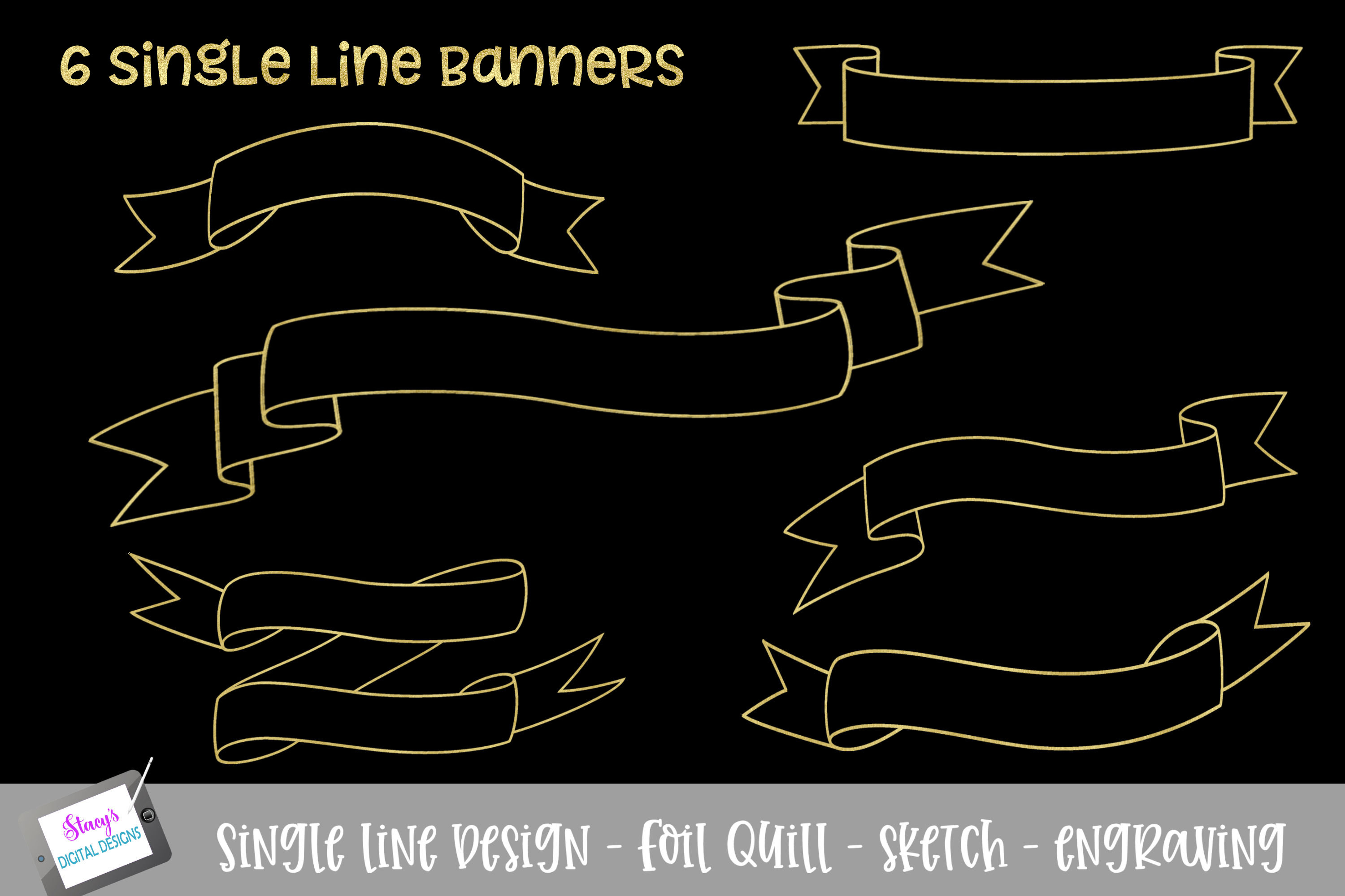 Foil Quill - Single Line Banner Bundle - 6 banners example image 1