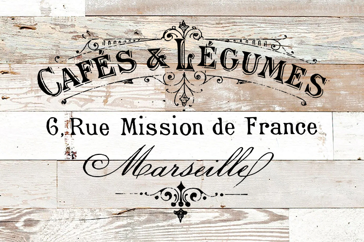 Antique French Cafe Label printable furniture pillow art example image 2