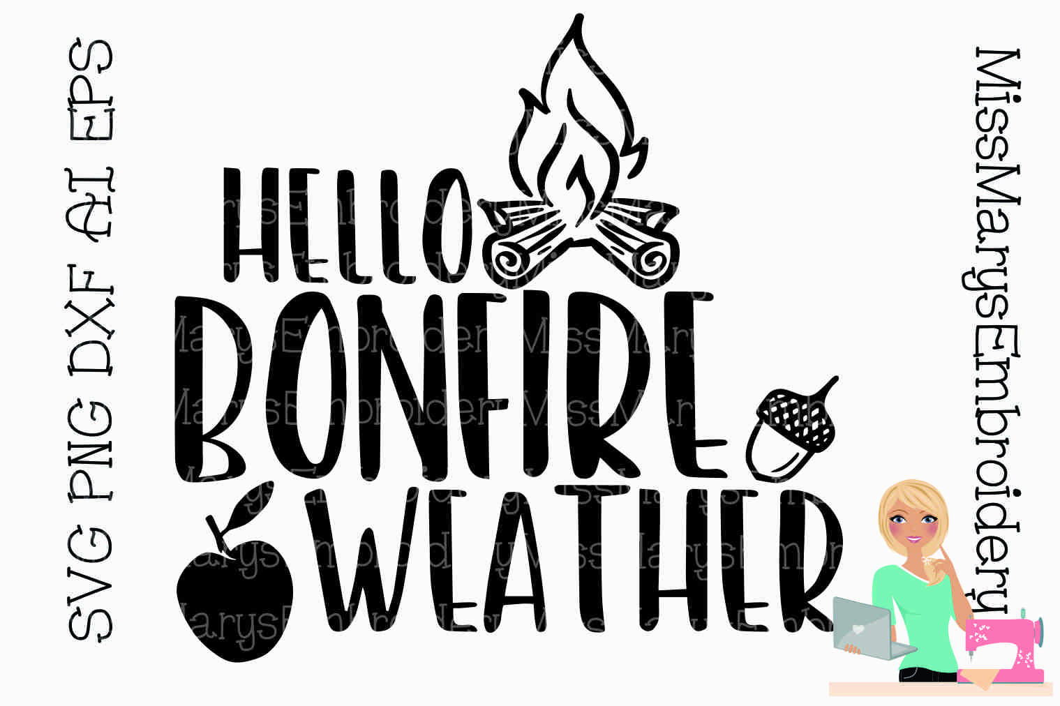 Hello Bonfire Weather SVG Cutting File PNG DXF example image 1