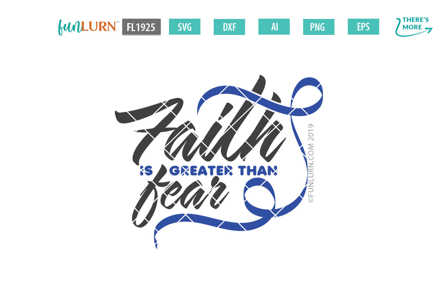 Faith is Greater Than Fear Dark Blue Ribbon SVG Cut File example image 2