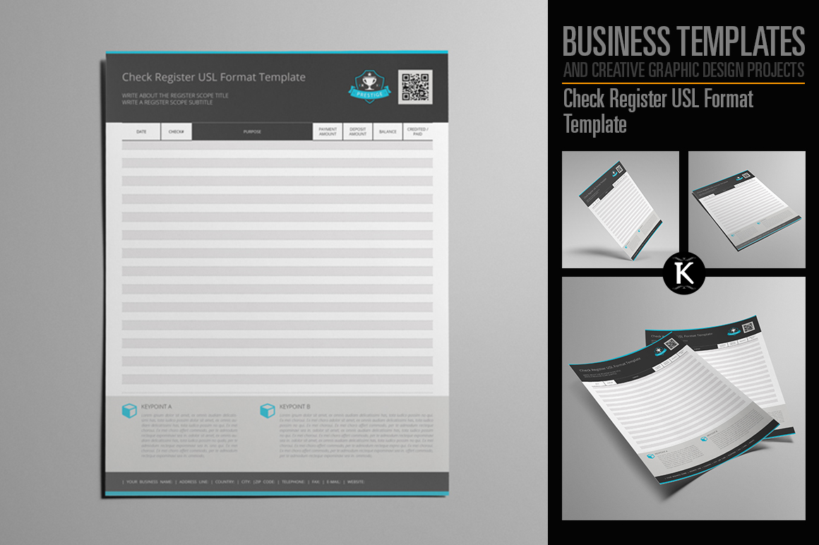 Check Register USL Format Template example image 1