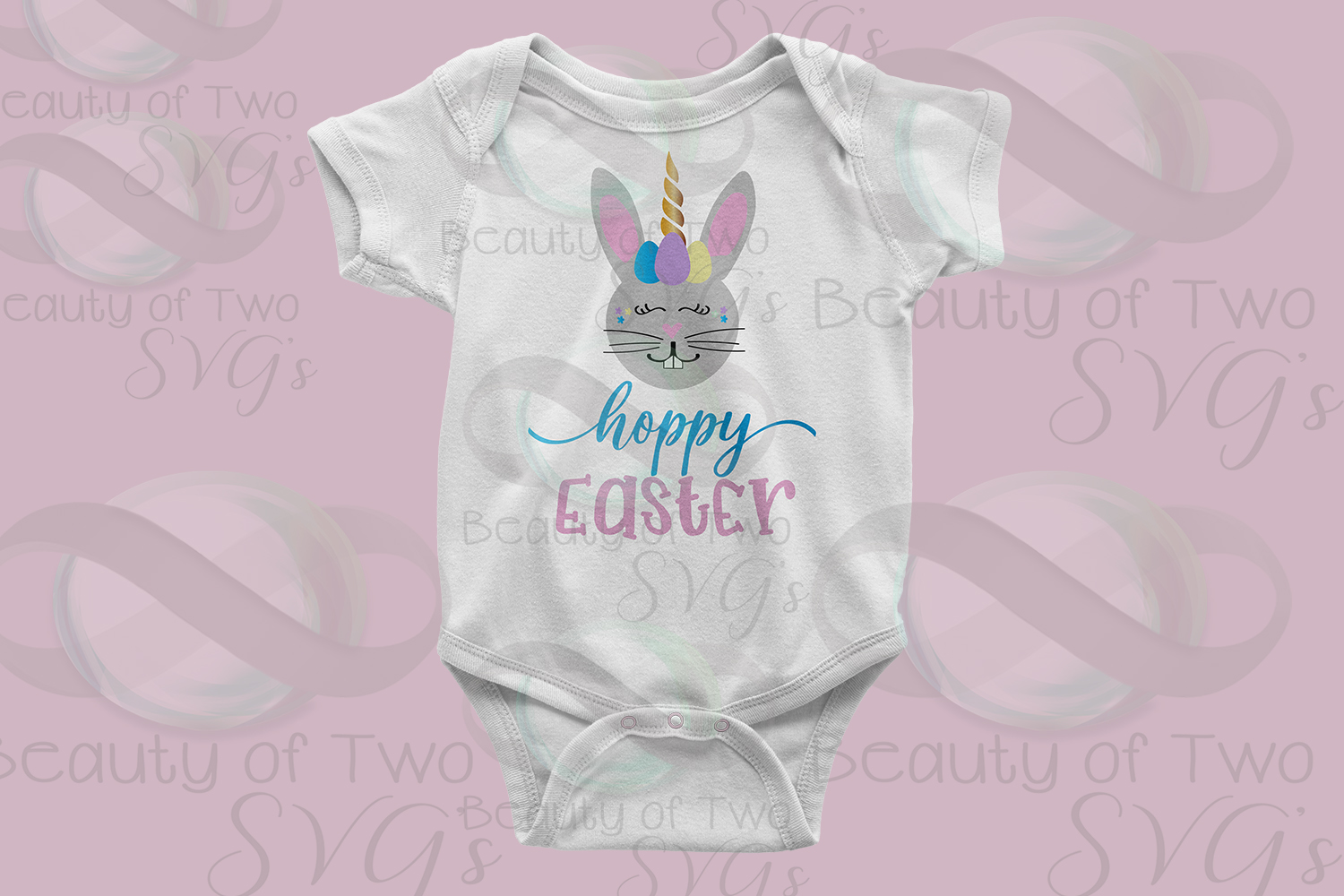 Hoppy Easter Unicorn Bunny svg & png, Kids Easter svg, example image 4