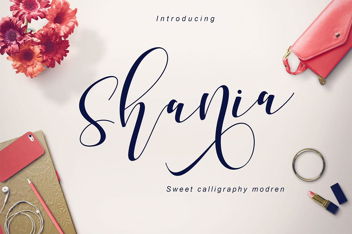 Shania Sweet Calligraphy Modern example image 1