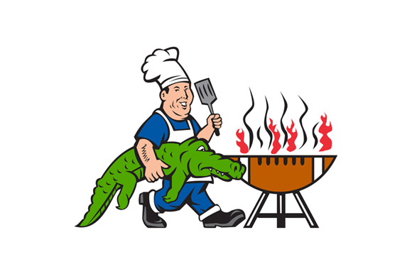 Chef Alligator Spatula BBQ Grill Cartoon example image 1