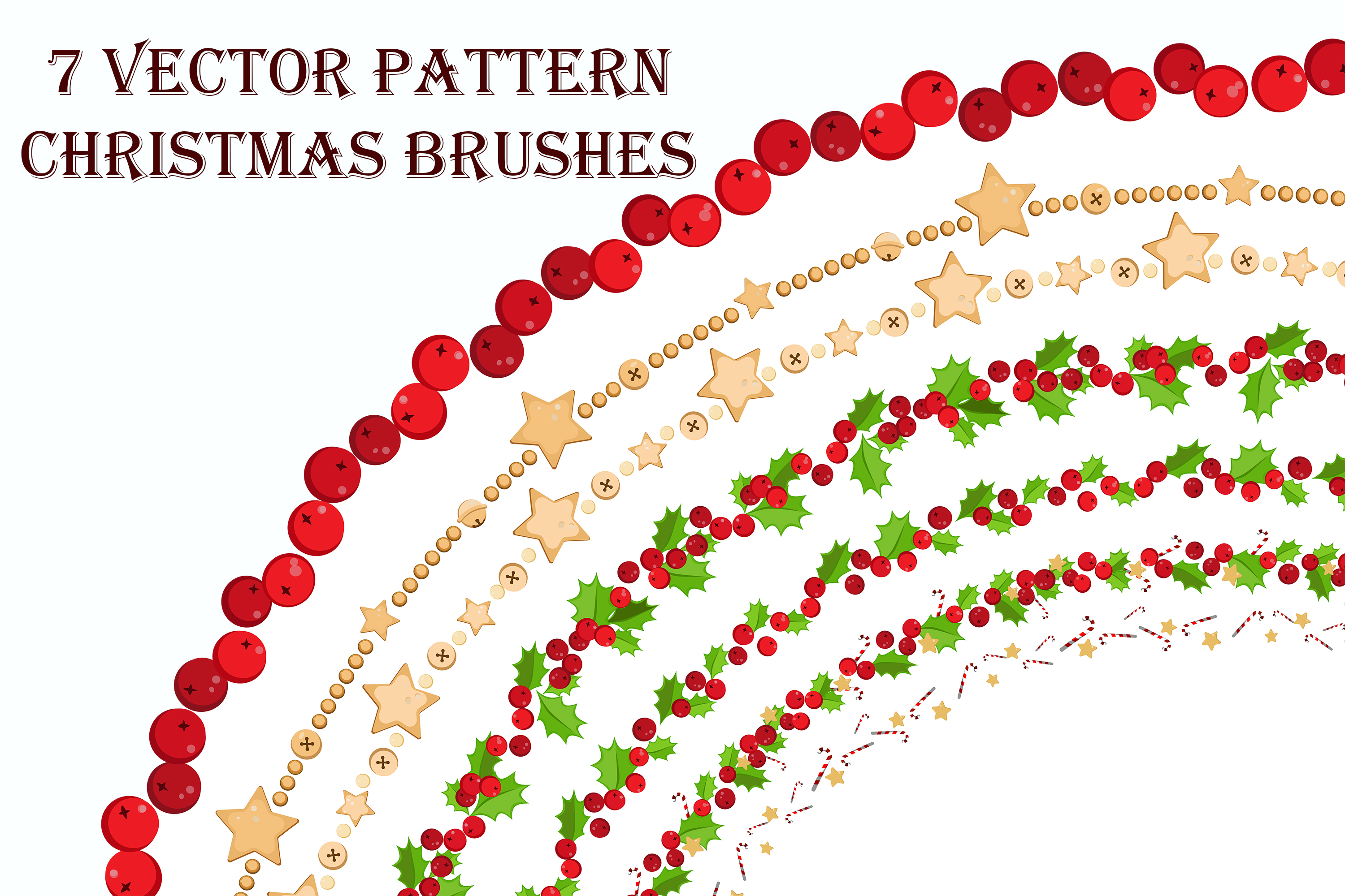 7 Vector Pattern Christmas Brushes example image 2