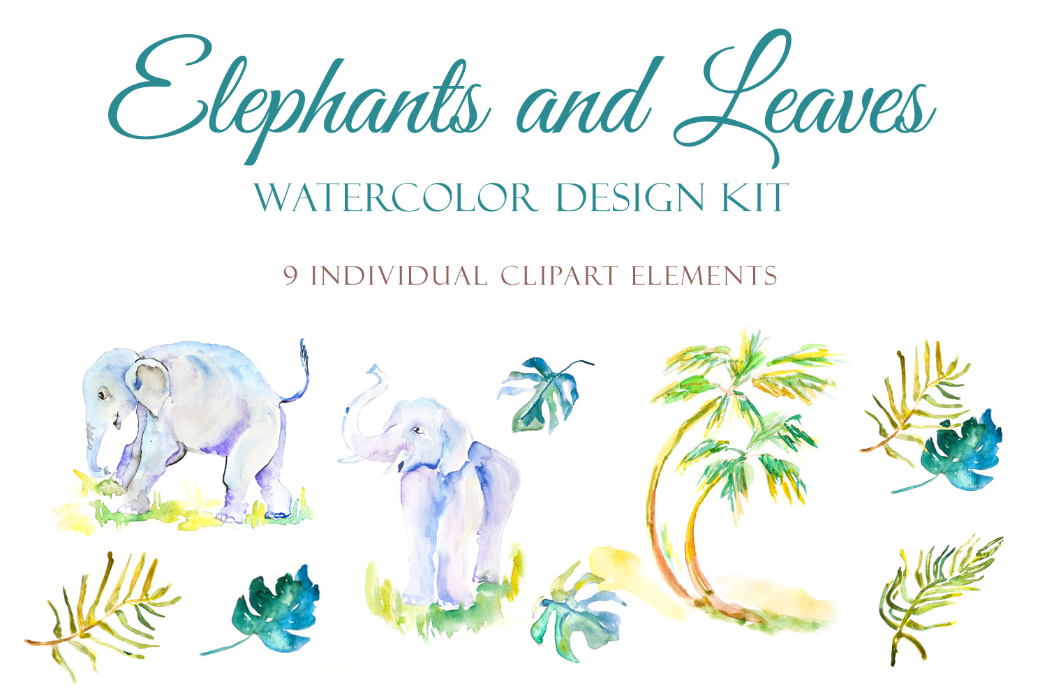 Elephants and Palm leaves watercolor clipart & BONUS pattern example image 2