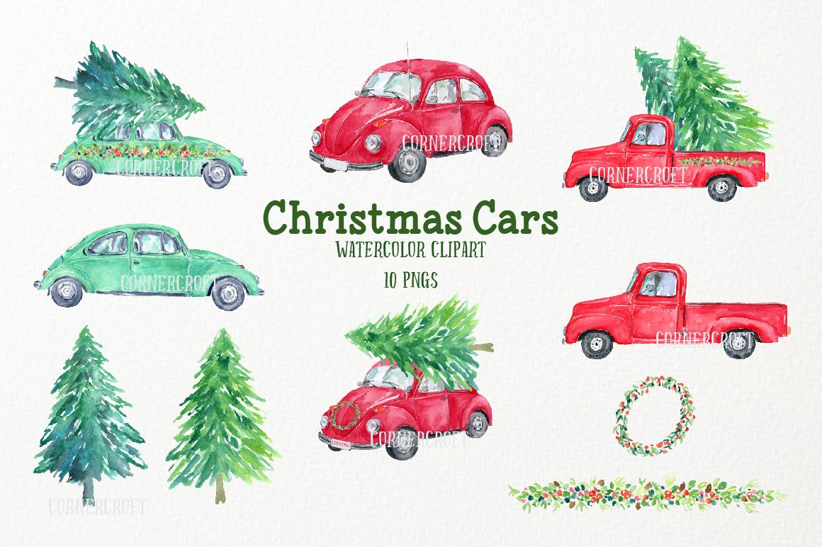 Watercolor Christmas Cars example image 2