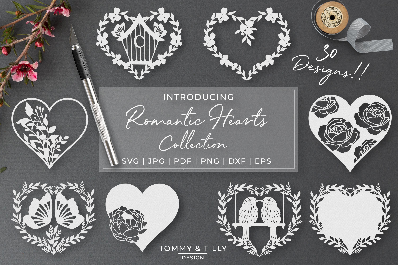 30 Designs! Romantic Hearts Bundle- SVG EPS DXF PNG PDF example image 1