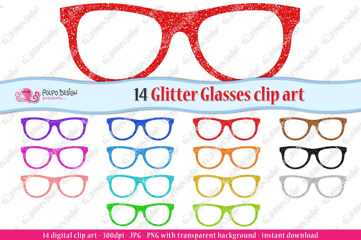 Colorful Glitter Glasses clip art example image 1