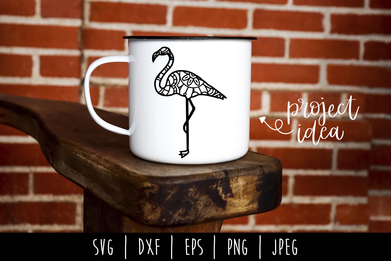 Flamingo Mandala Zentangle SVG, DXF, EPS, PNG, JPEG example image 2