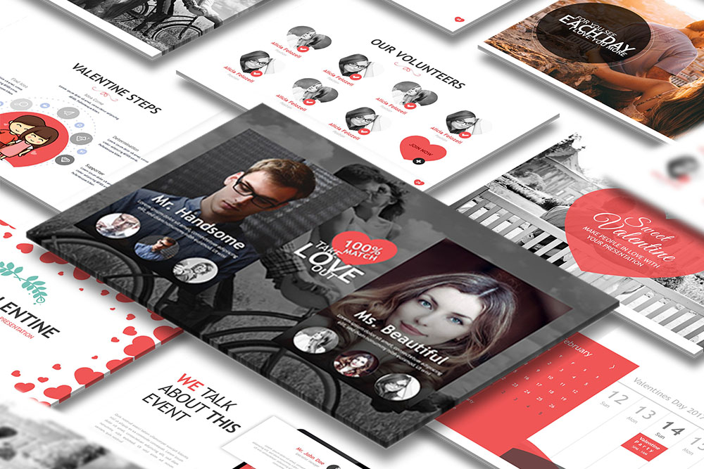 Sweet Valentine Powerpoint Template example image 1