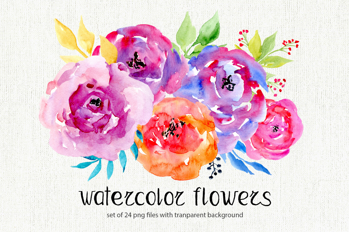 watercolor flowers 24 png clipart by w design bundles