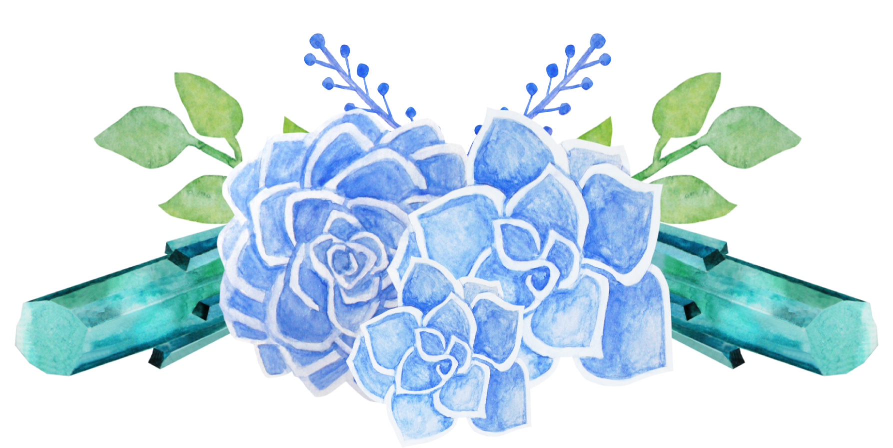 Succulents and Crystals Watercolor example image 5