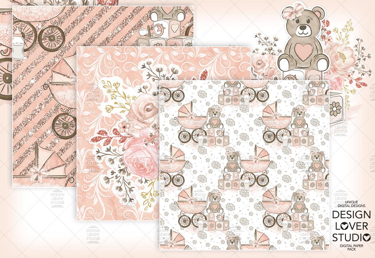 Baby Girl digital paper pack example image 6