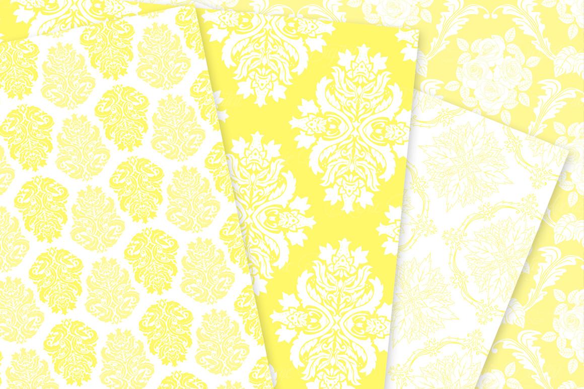 28 Yellow Damask Patterns - Seamless Digital Papers Bundle example image 6