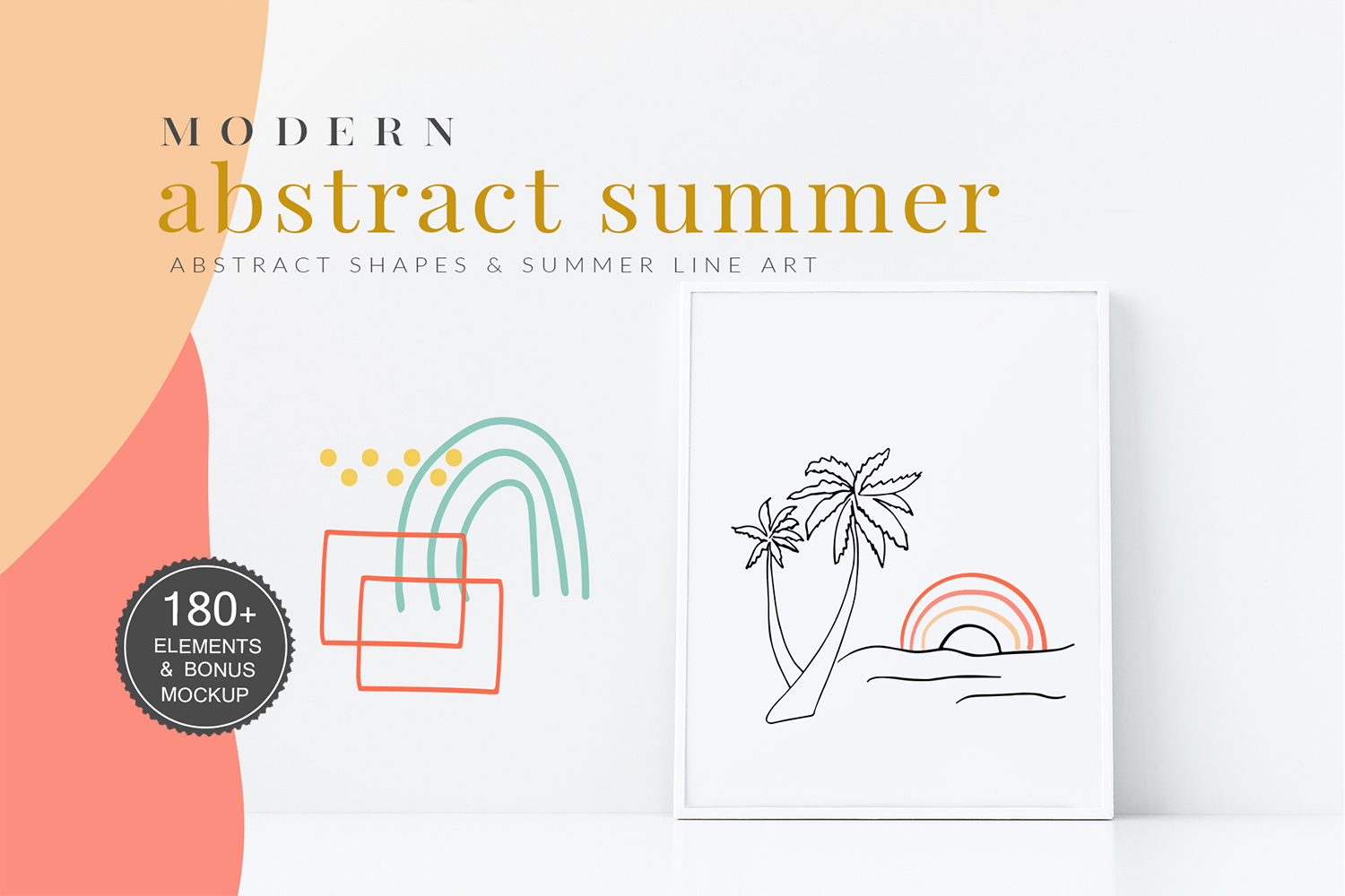 Abstract Shapes & Summer Line Art Vector Cliparts example image 1