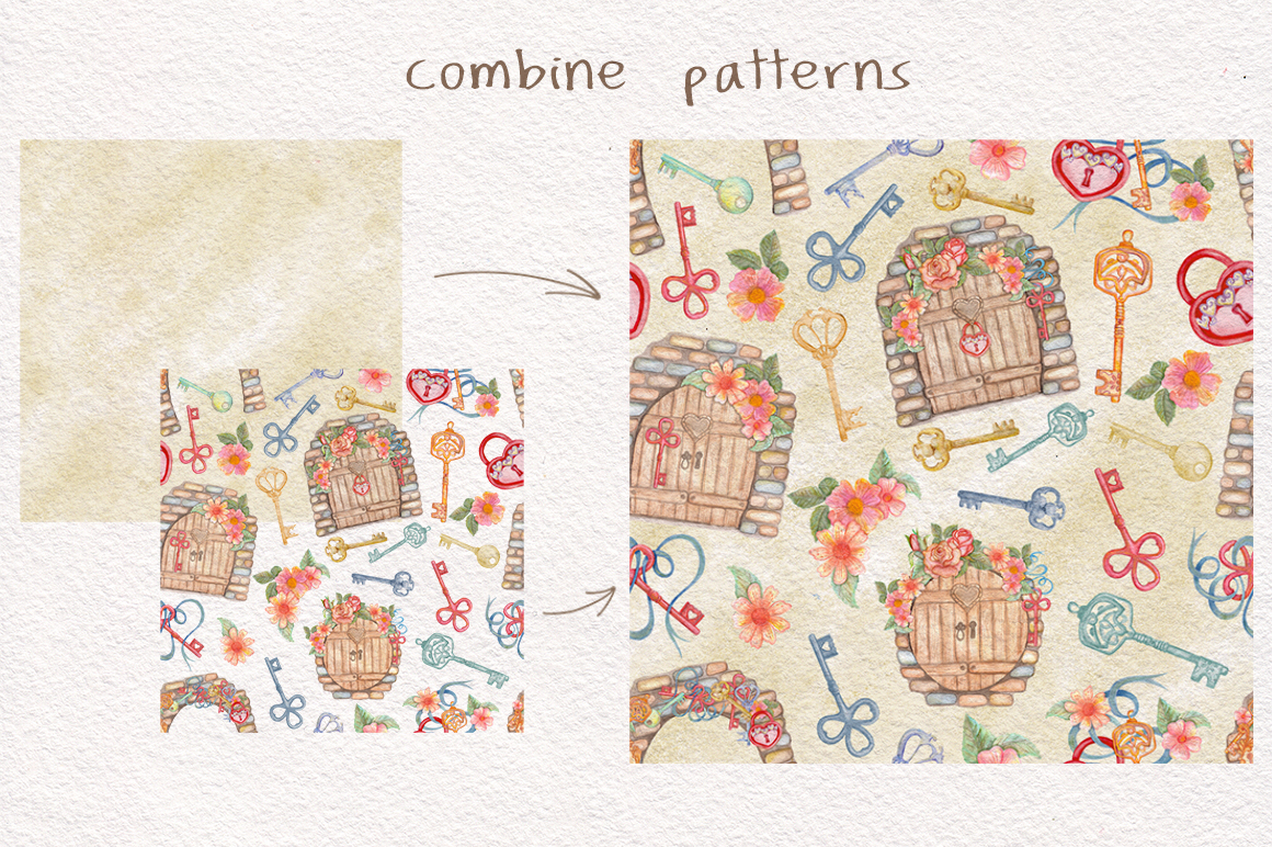 Home Sweet Home. Keys, floral watercolor wonderland collection example image 7