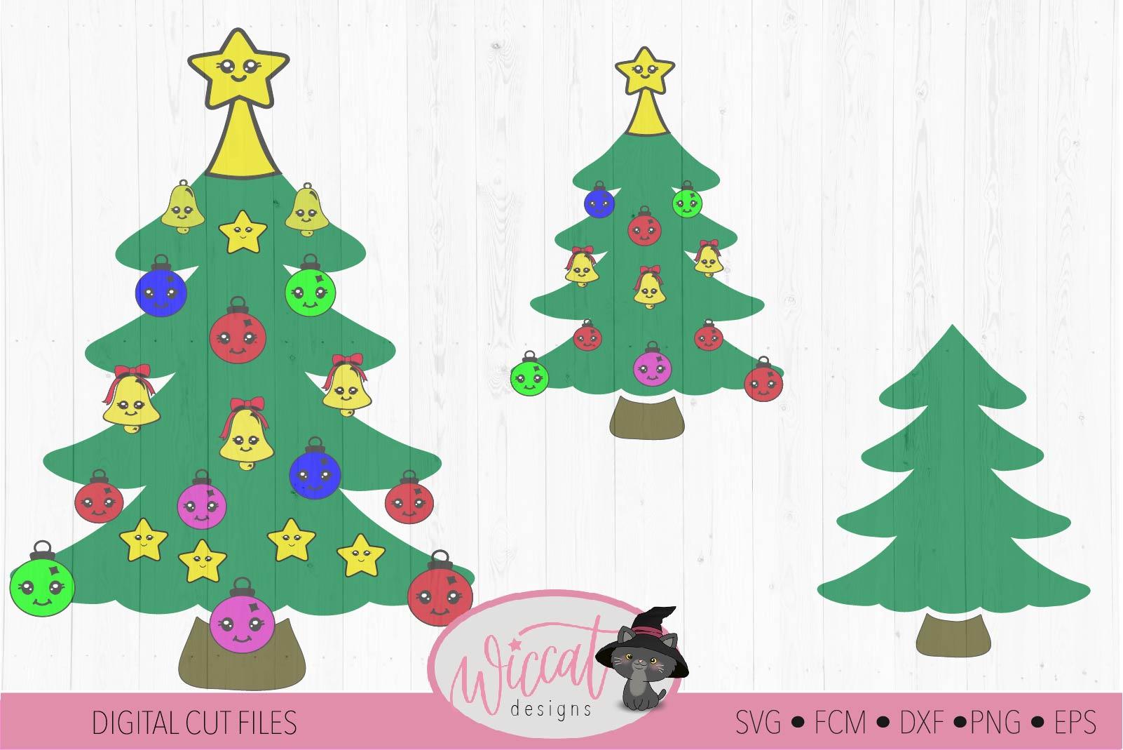 Christmas Kawaii tree, Kawaii Ornaments svg example image 3