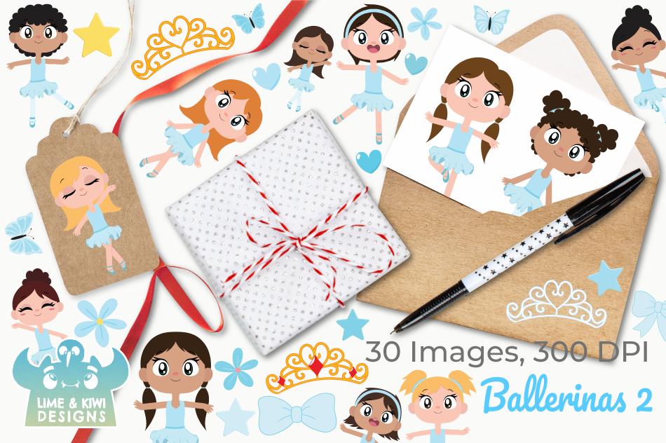 Ballerinas 2 Clipart, Instant Download Vector Art example image 4