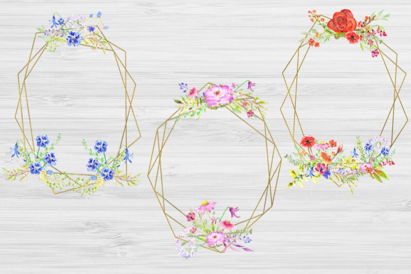 20 Geometric Framesw With Field Flowers, Poppy Wedding Frame example image 4
