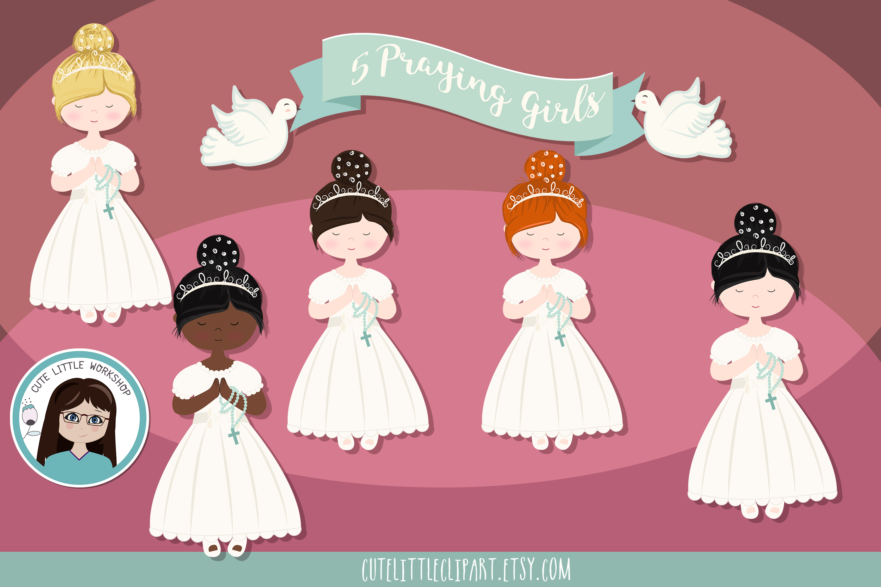 First Holy Communion Girls clipart, Five girls praying, grap example image 1