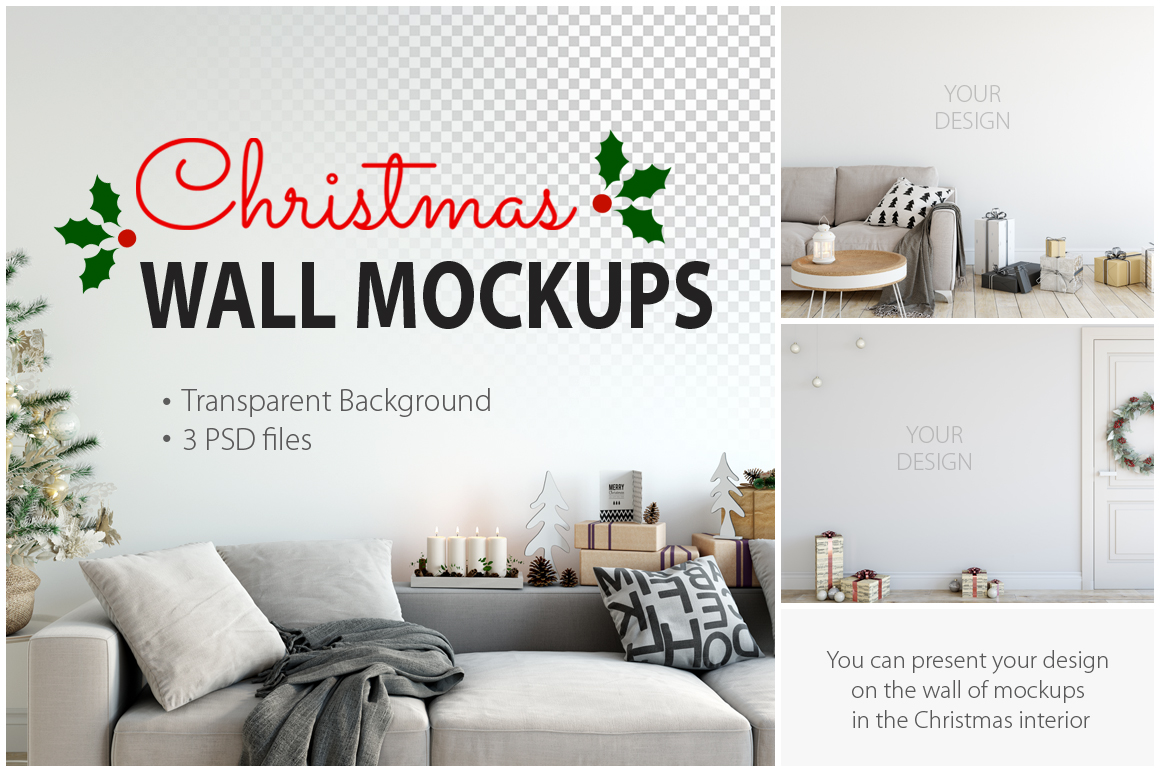 Christmas Wall Mockups example image 1