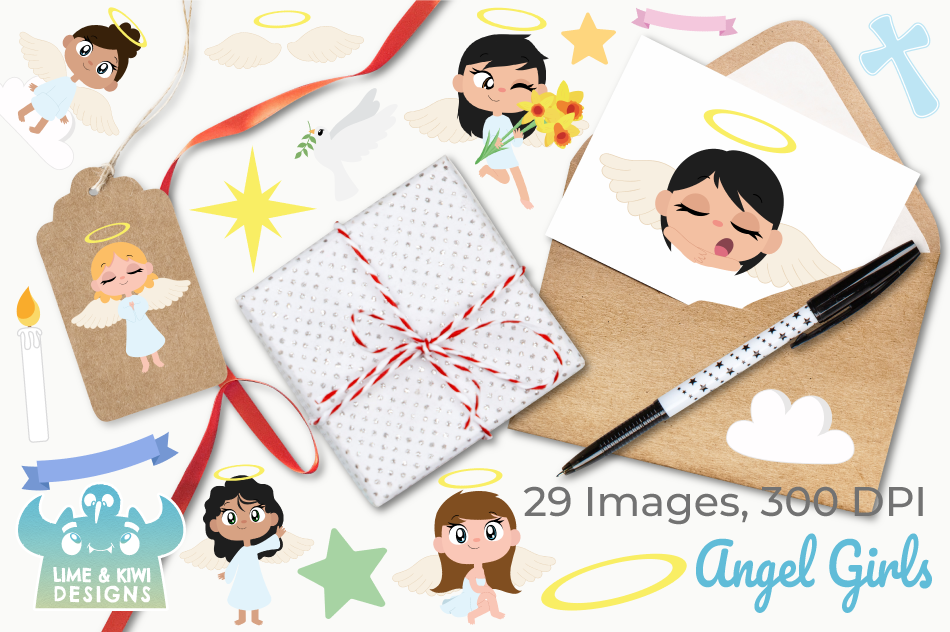 Angel Girls Clipart, Instant Download Vector Art example image 4