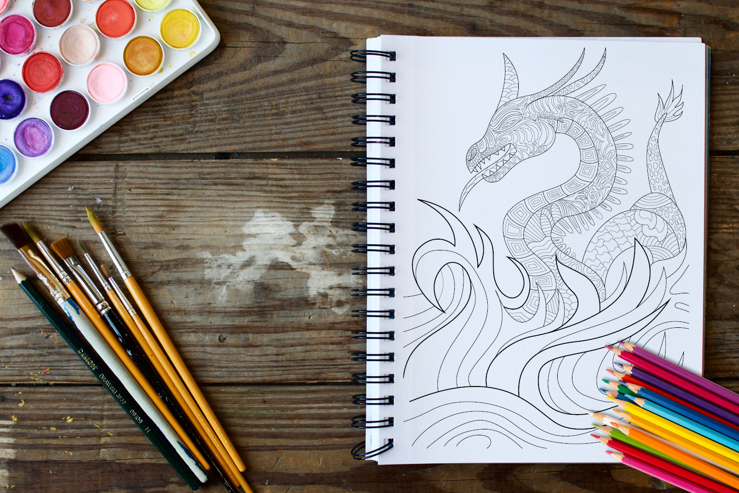 30 Dragons Adult Coloring Pages Instant Download, Coloring Book for Adults example image 3