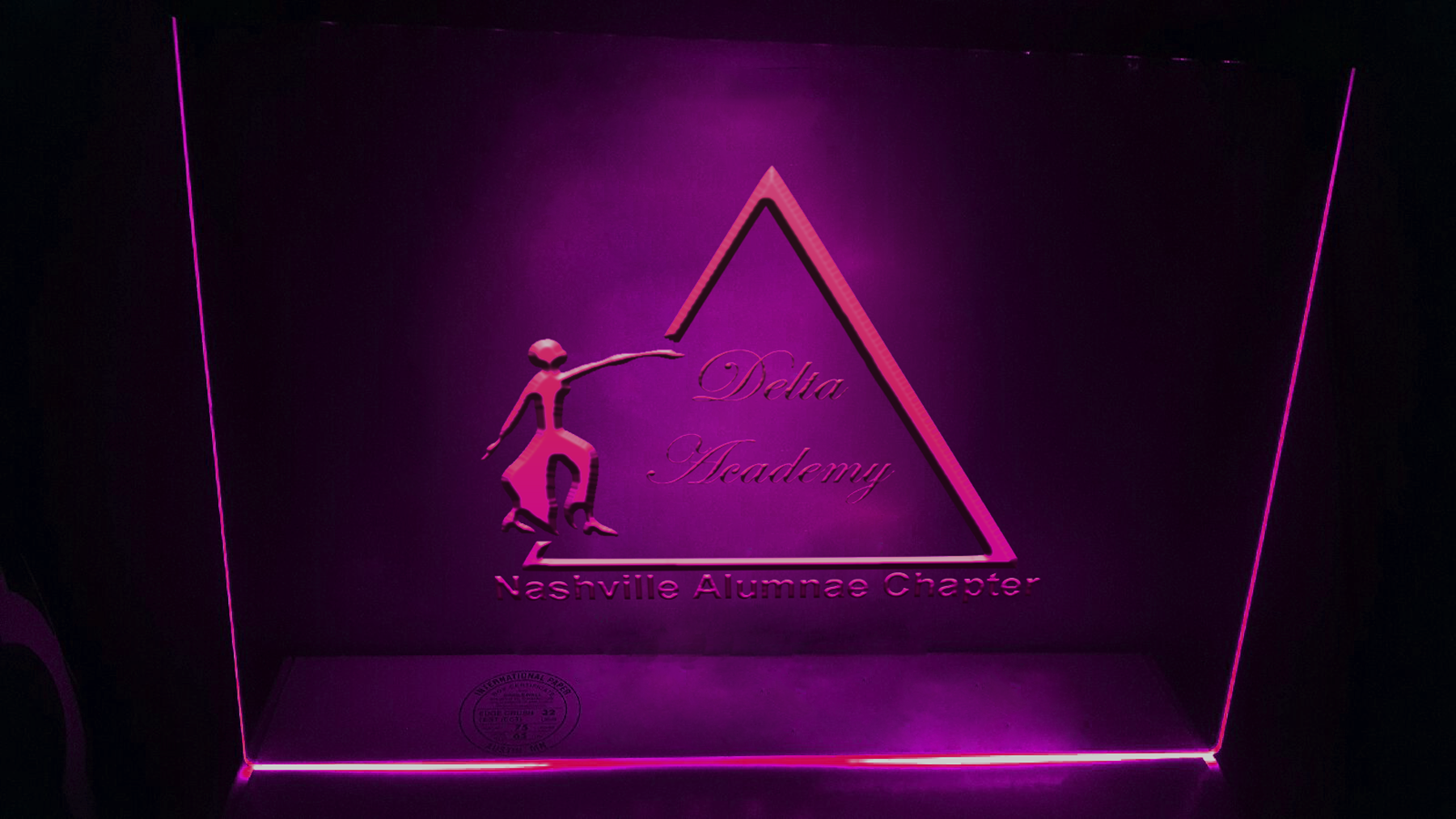 2d and 3d Logo mock ups on glass with neon glow  example image 1