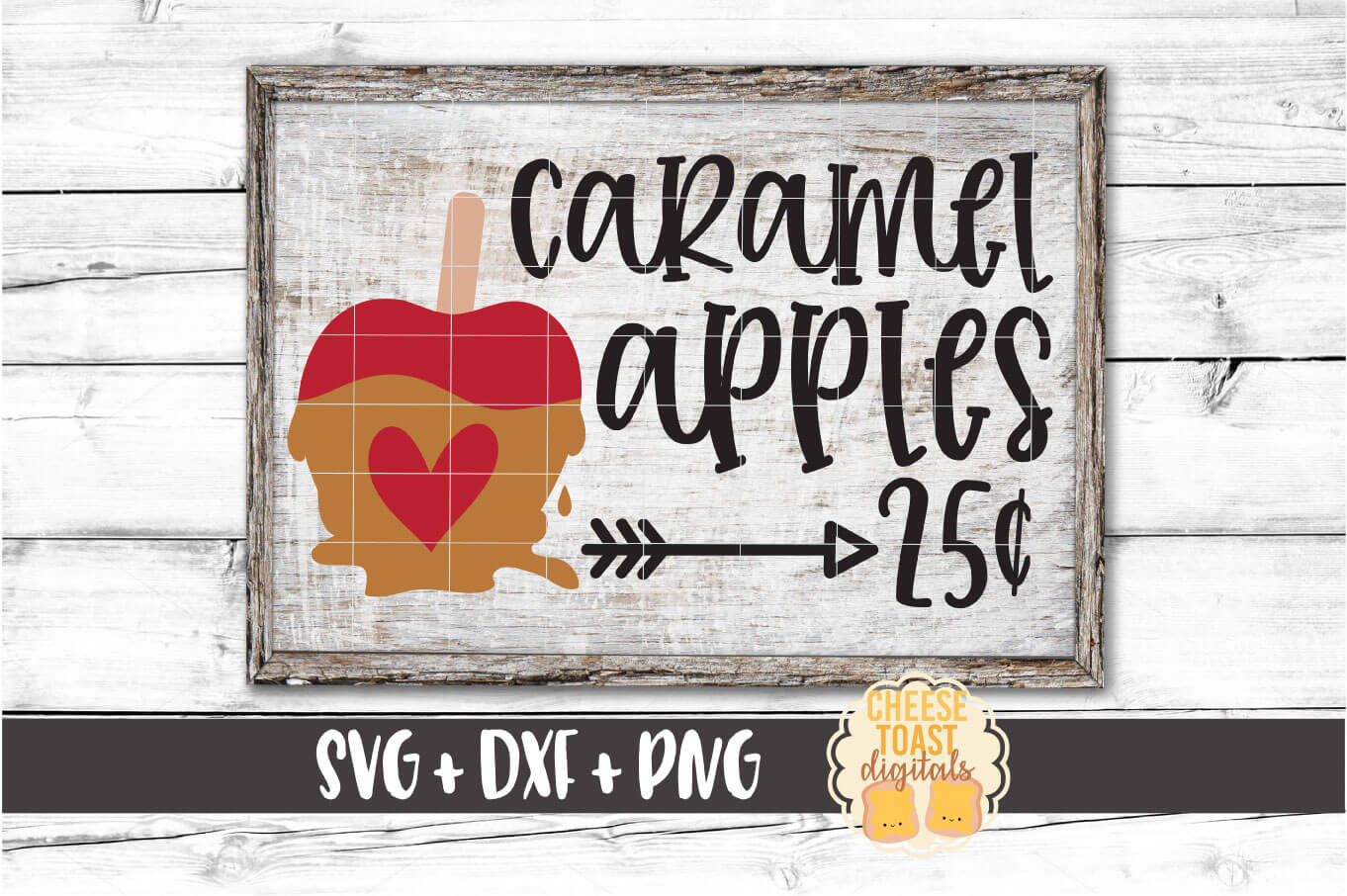 Caramel Apples 25 Cents - Fall Sign SVG PNG DXF Cut Files example image 1