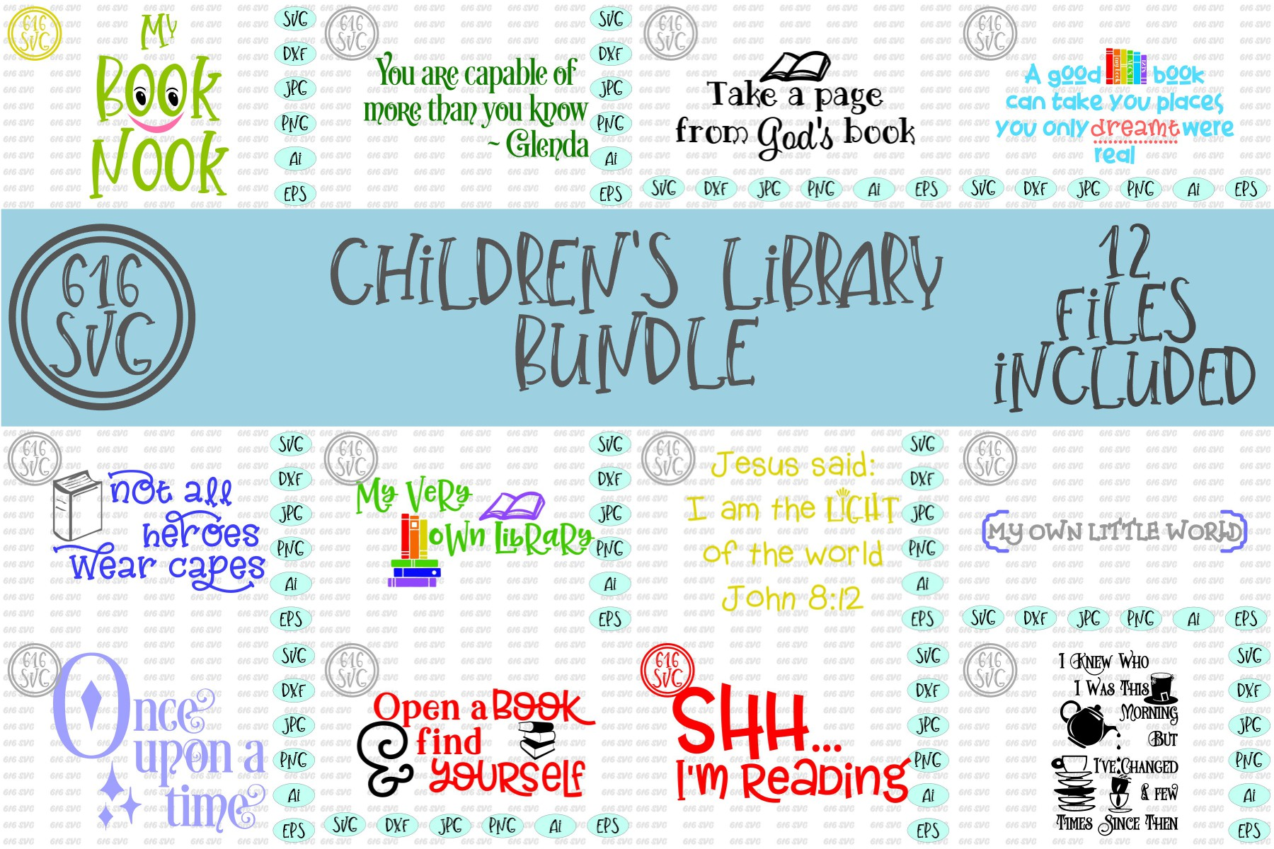 Childrens Library Bundle SVG, DXF, Ai, PNG example image 1