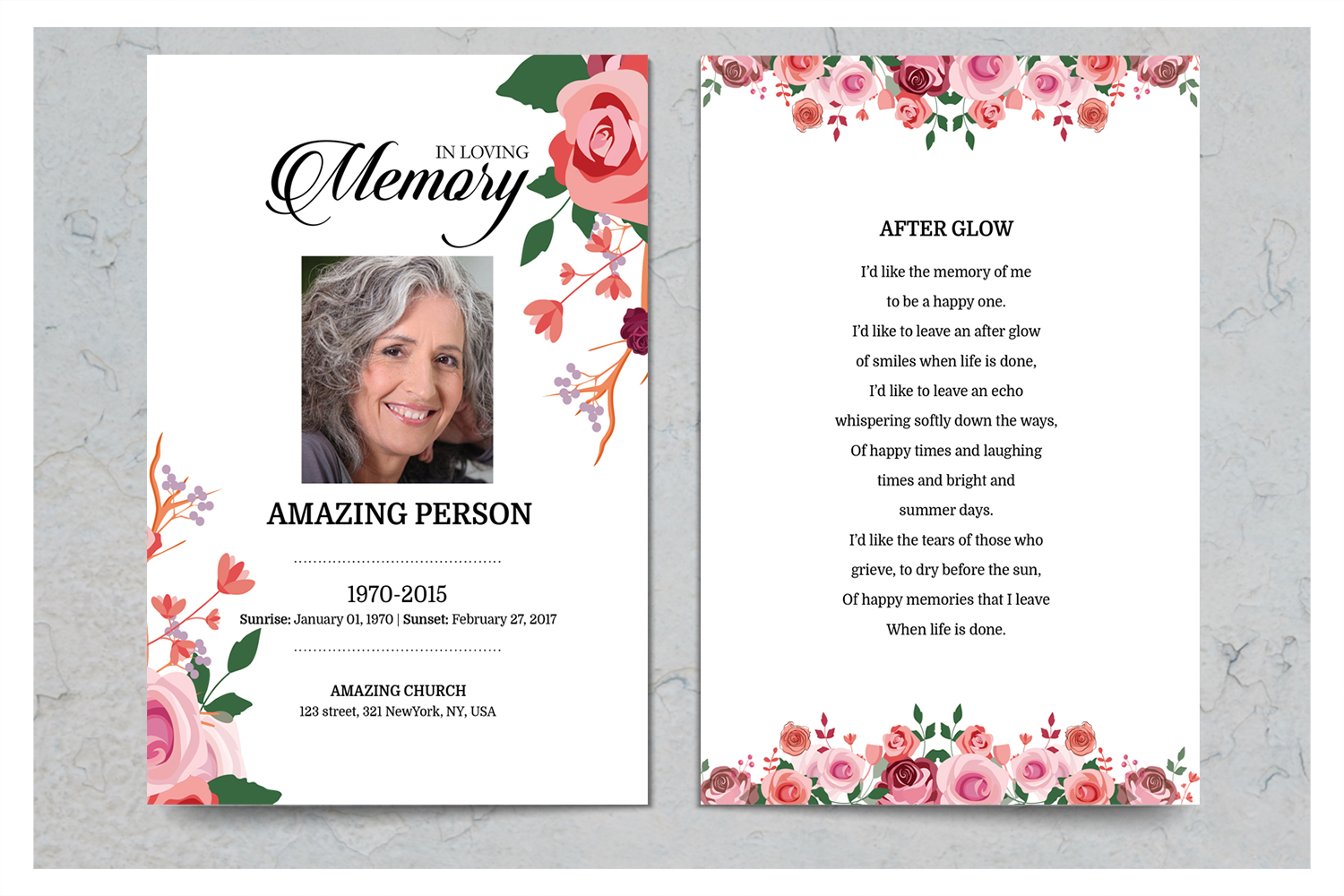 Pink Flower Funeral Prayer Card Template example image 2