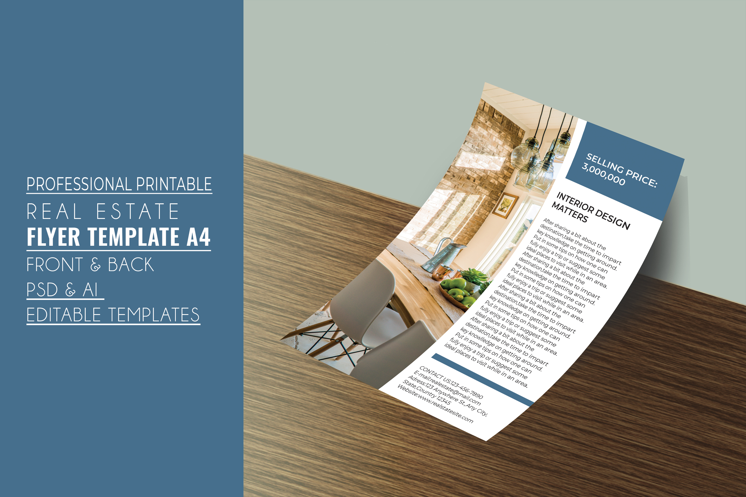 Professional Real Estate Flyer A4 - Printable Templates example image 3