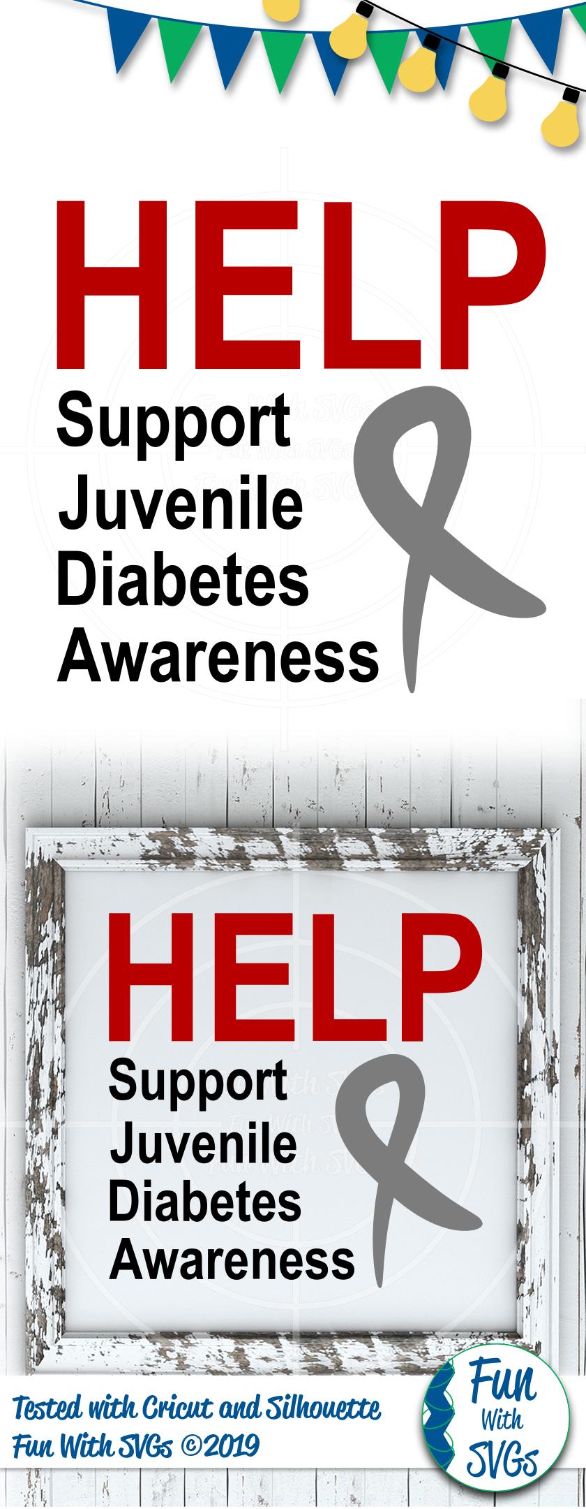 SVG Help Support Juvenile Diabetes, Cut File, FWS472 example image 2