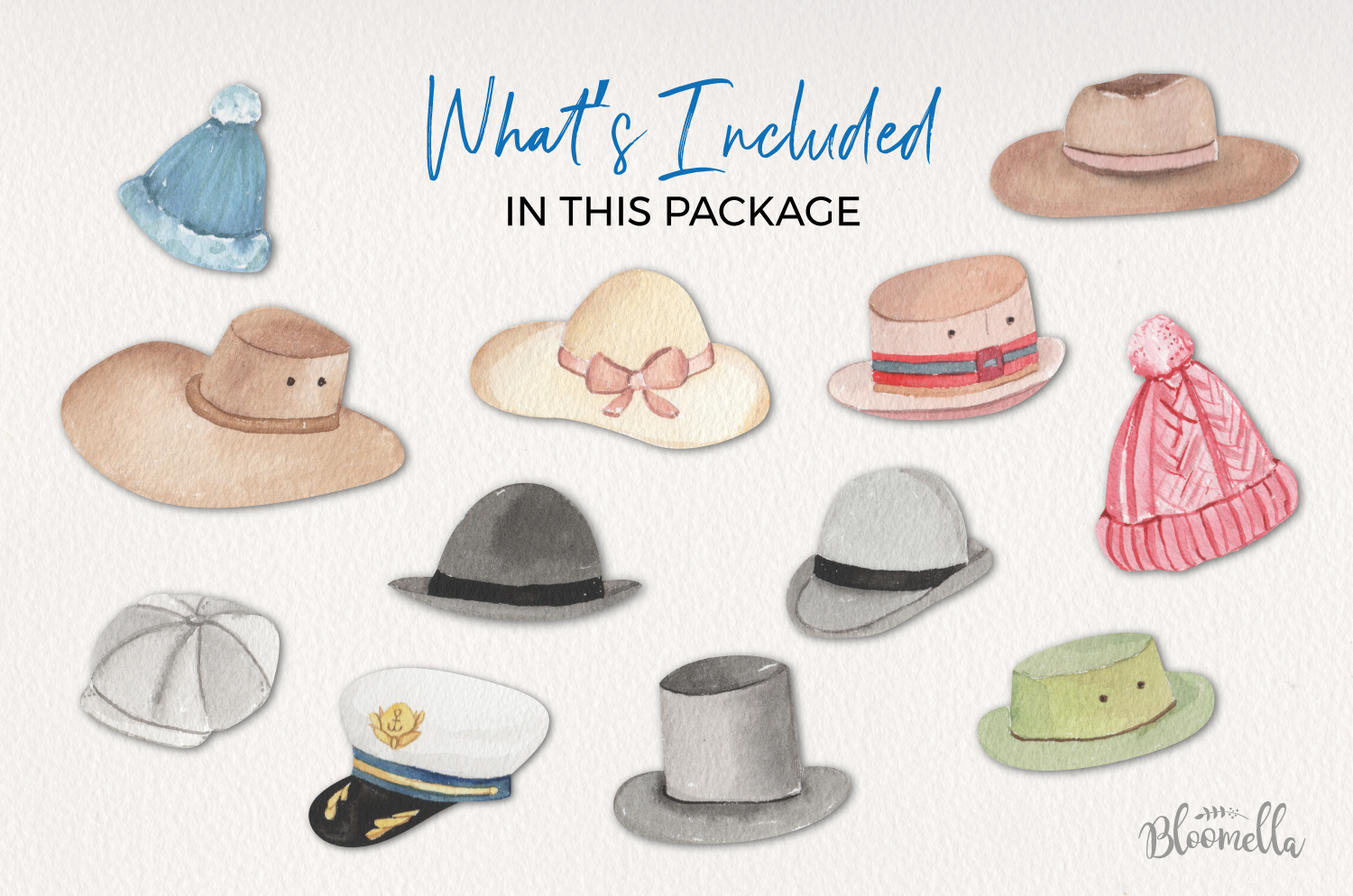 Hats Watercolor Elements example image 4
